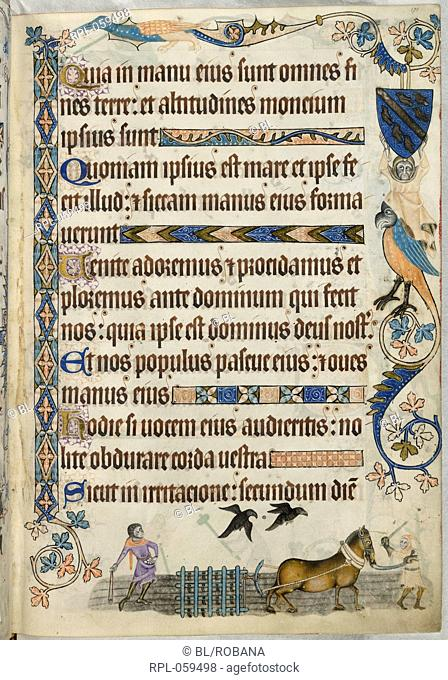 Harrowing Whole folio Text page, Psalm 94. Marginal decoration includes a shield with the Luttrell arms and a grotesque with a bird's head