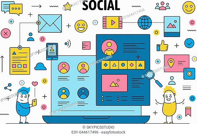 Social network poster banner template. Vector thin line art flat style design with funny cartoon characters, social networking, communication symbols