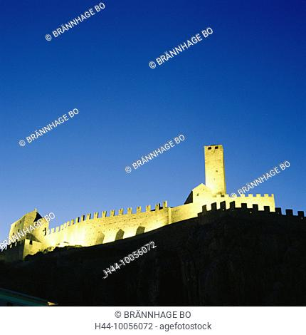 10056072, lighting, Bellinzona, castle, Castello grandee, at night, Switzerland, Europe, Ticino