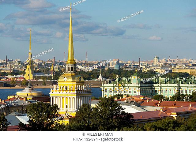 Overview of the Winter Palace (State Hermitage Museum), the Admiralty, and the St. Peter and Paul Fortress along the banks of the Neva River, St