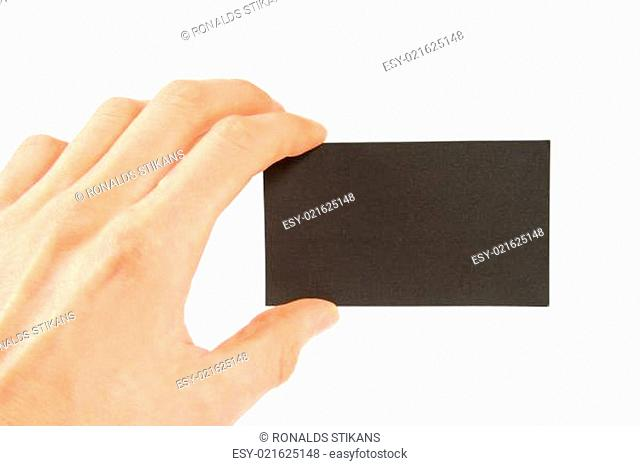 Hand holding empty business card