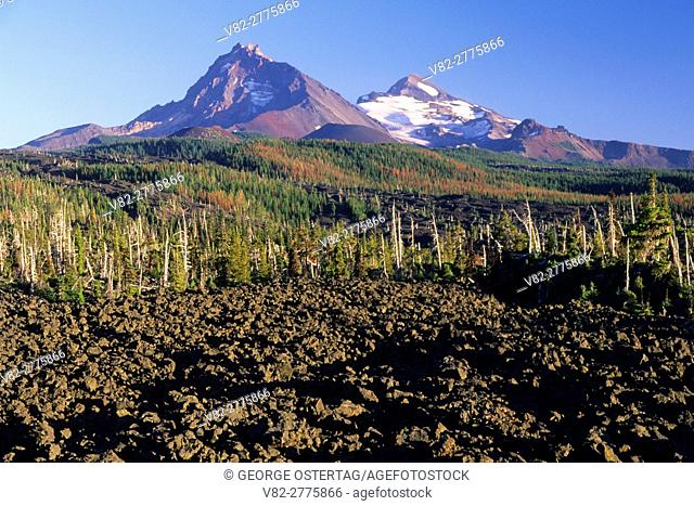 Middle and North Sister from Dee Wright Observatory, McKenzie Pass-Santiam Pass National Scenic Byway, Willamette National Forest, Oregon