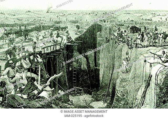 In 1867 diamonds were discovered in Griqualand West and mines were opened at the place where Kimberley now stands. The picture shows the Kimberley mine in 1876