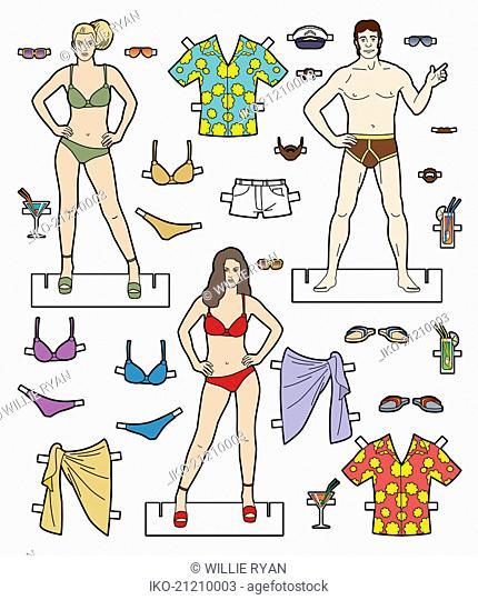 Male and female paper dolls with choice of holiday clothes
