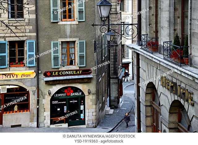 historic residential buildings next to city square Place du Bourg-de-Four in the old town of Geneva, Switzerland