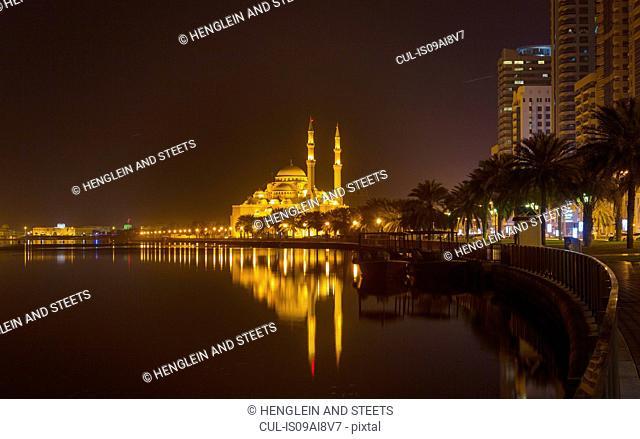 Altaqwa Mosque at night, Sharjah, United Arab Emirates