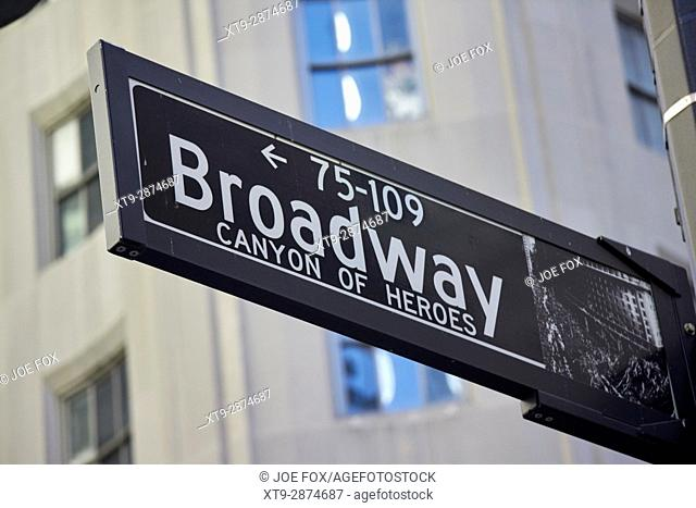 street sign for broadway New York City USA