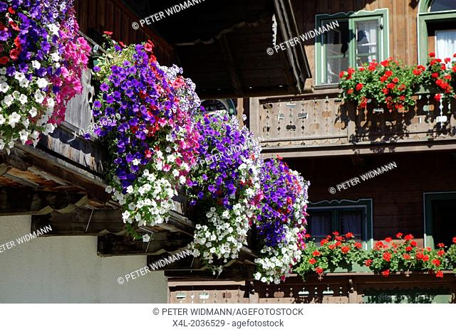 Kochel am See, Kochelsee, Balcony Flowers at a Farmhouse, Bavaria, Upper Bavaria, Germany, Europe