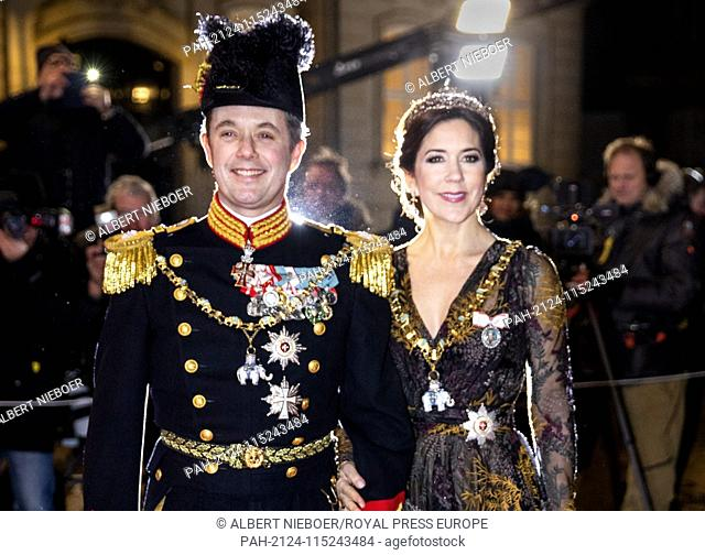 HRH Crown Prince Frederik and HRH Crown Princess Mary of Denmark arrive at Amalienborg Palace in Copenhagen, on January 1, 2019