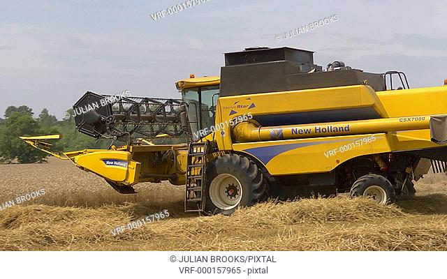 Yellow combine harvester turning to start a new row of wheat