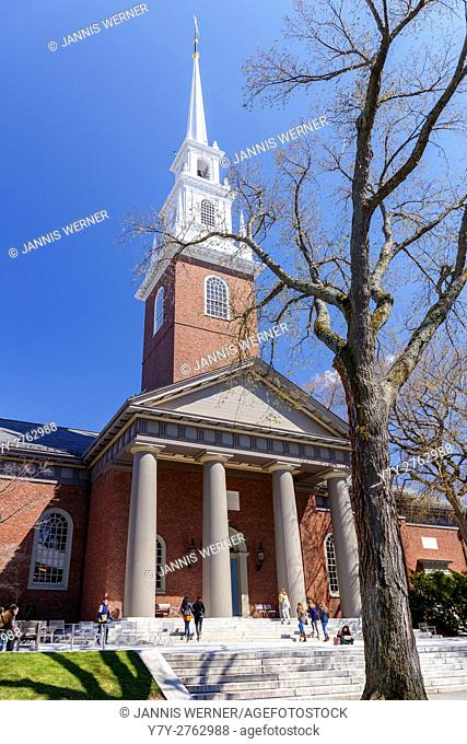 Historic Memorial Church on the campus of Harvard University, in Spring in Cambridge, MA, USA