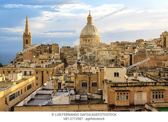 Overview at dawn of historic city of Valletta, Malta