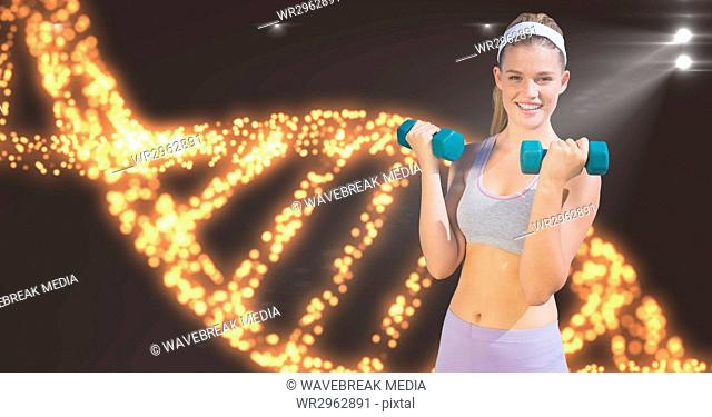 Smiling woman lifting dumbbells against DNA structure