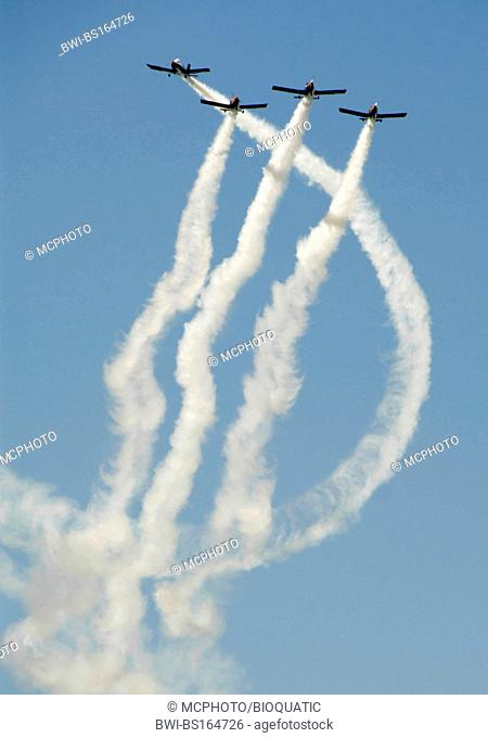 The Blackbirds performin in their aircrafts - Zlin 42 - at Sola Airshow 2007., Norway, Rogaland, Solas
