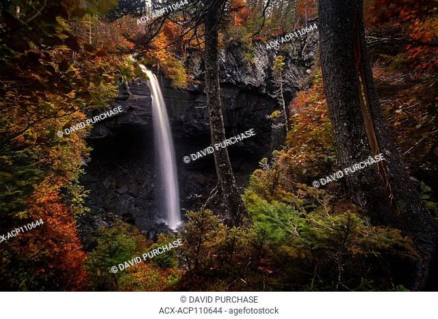 water falls of the lomond Sinkhole , entrance of an underground River, Lomond River, Bonne Bay, Gros Morne National Park, Newfoundland & Labrador
