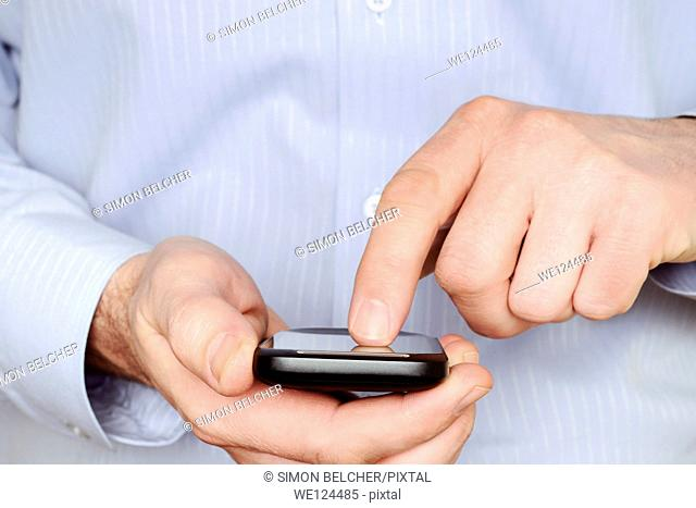 Man Using a Smartphone, Close Up