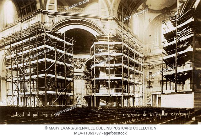'London in Splints' - Scaffolding inside St. Paul's Cathedral during repairs in 1928