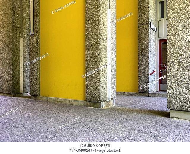 Brlin, Germany. The Entrance of a Gropiusstadt apartment building, of which the main construstruction material is grey concrete