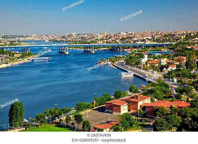 The view from the viewpoint on the Hill of Pierre Loti in the district of Eyup to the Golden Horn with Halic Bridge, Istanbul, Turkey