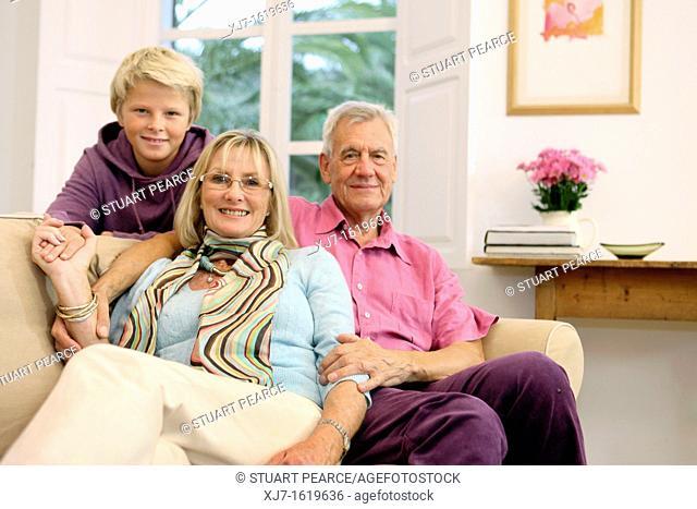Senior couple with grandson