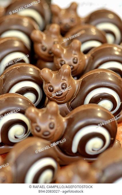 Chocolates at La Boqueria market, Barcelona, Catalonia, Spain