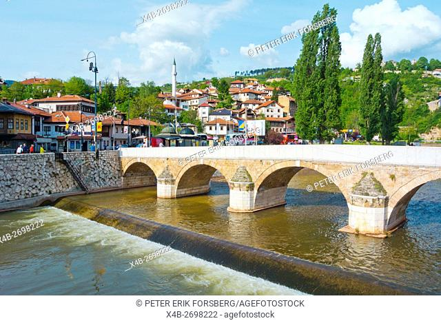 Seher-Cehajina cuprija, bridge crossing Miljacka, central Sarajevo, Bosnia and Herzegovina