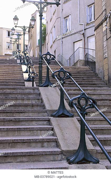 France, region Rhone-Alpes,  Saint-Etienne, Montee you Cret you Roc,  Stairway, hand-rails, Art nouveau Europe, department Loire, sight, alley, banisters