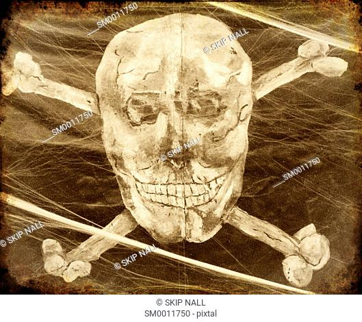 A skull and crossbones on a pirate ship