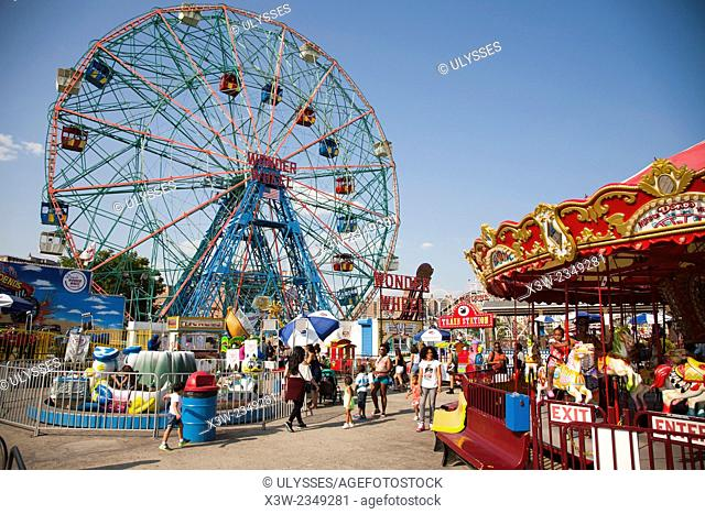 wonder wheel, luna park, Coney Island, New York, USA, America
