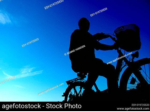 Sillhouette eines Radfahrers