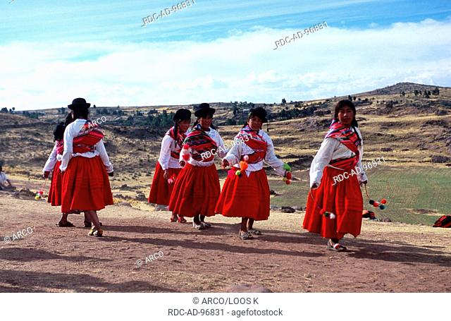 Dancer of a folk group near the Chulpas of Sillustani, lake Titicaca, Peru