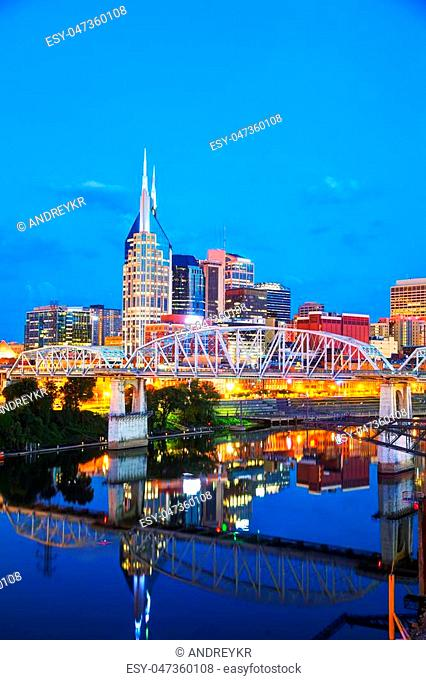 Downtown Nashville, Tennessee cityscape in the evening