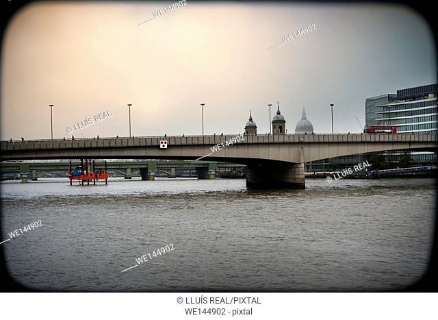 View of the London Bridge and the river Thames. London, England, UK