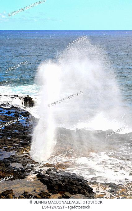 Spouting Horn Popui Kauai Hawaii Lava Shoreline Pacific Ocean