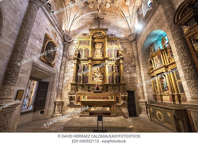 Cuenca, Spain - July 4, 2018: Interior of famous Gothic cathedral of Cuenca in Castilla la Mancha, Spain