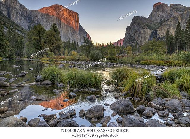 Evening Alpenglow on El Capitan Yosemite National Park California USA