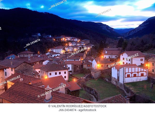 View of the village of Roncal, Roncal valley, Navarre, Pyrenees Mountains, Spain