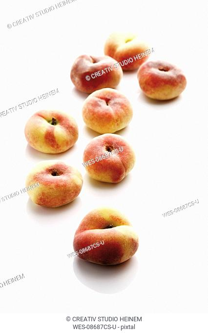 Mountain Peaches Prunus persica var. platycarpa, close-up