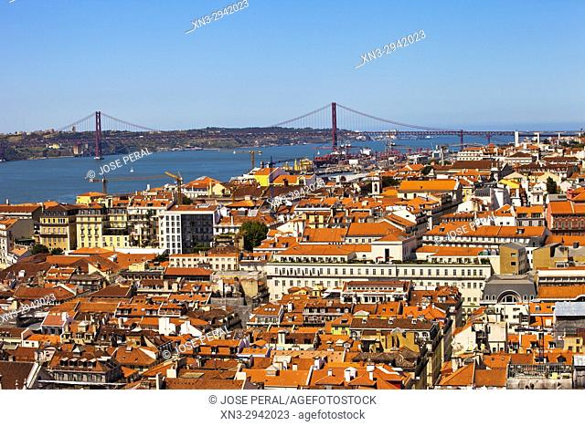 25 April bridge, Port of Lisbon, Tagus River, from Lisbon Castle, Lisbon, Portugal, Europe
