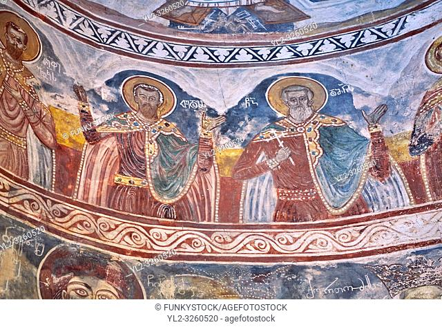 Pictures & images of Nikortsminda ( Nicortsminda ) St Nicholas Georgian Orthodox Cathedral rich interior frescoes, 16th century, Nikortsminda