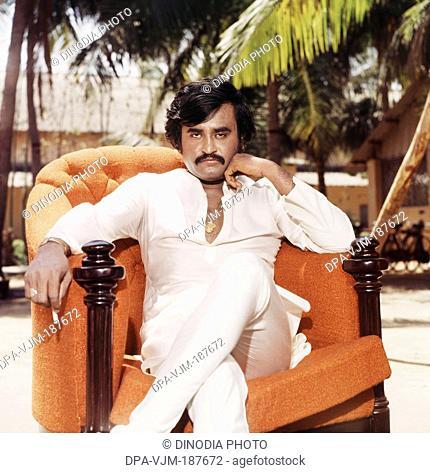 1986, Portrait of Indian film actor Rajinikanth