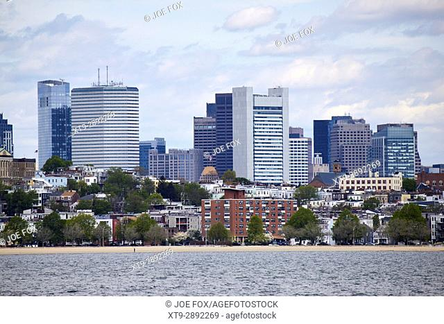 view from columbia point over south boston towards city centre financial district Boston USA