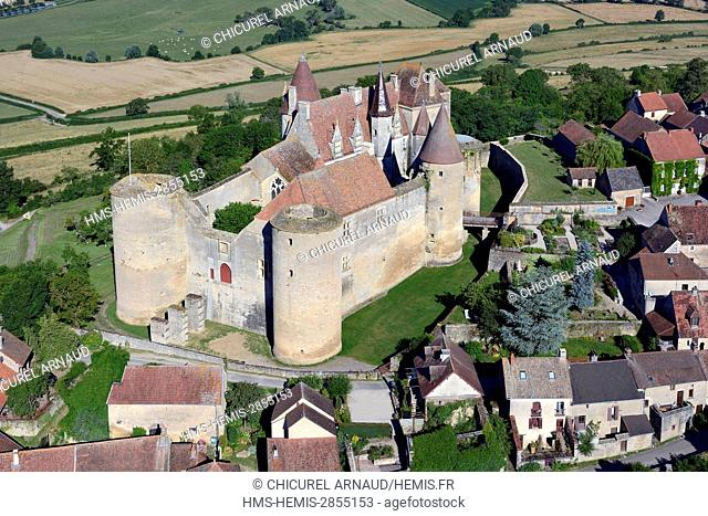 France, Cote d'Or, Chateauneuf en Auxois, labelled The Most beautiful Villages of France, the castle (aerial view)