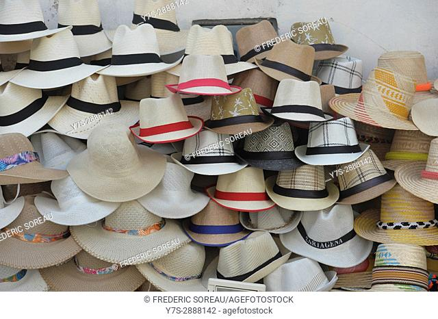A pile of colombian sombrero's at a street vendors stand in Cartagena,Colombia,South America