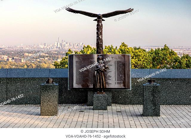 October 16, 2016 - 9/11 Memorial Eagle Rock Reservation in West Orange, New Jersey with view of New York City