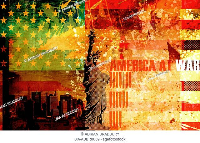 Statue of Liberty, American flag, cityscape and sign:' America at war', New York City, New York, USA