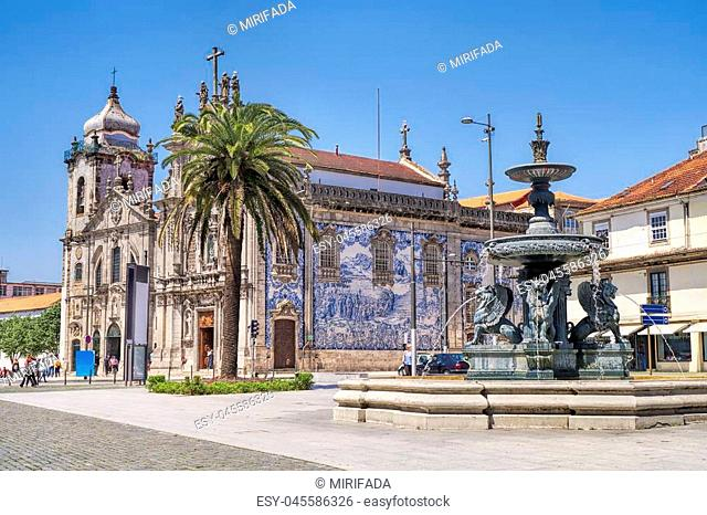 Carmelites church with Our Lady of Mount Carmel in the center of Porto, Portugal