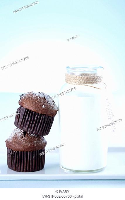 Close-up Of Bakery Items With A Bottle