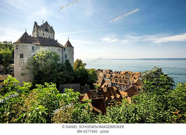 Old castle, with historic centre of Meersburg, Lake Constance, Baden-Württemberg, Germany