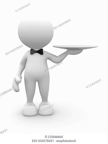 3d people - man, person with a plate. Waiter with tray